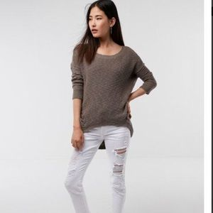 Express lace up tunic sweater